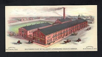 1870s Trade Card - A Hoen Lithographer Factory in Baltimore MD