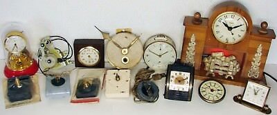 Vintage 14 CLOCK & CLOCK MOVEMENTS - 11 Are For PARTS