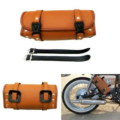 NEW Motorcycle Luggage PU Leather Brown Tool Bag Handle Bar Barrel Storage Pouch