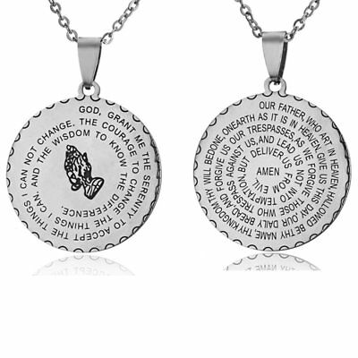 Women Men Engraved Stainless Steel God Letter Pendant Necklace Jewelry Gift New