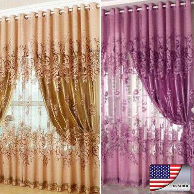 US Floral Voile Curtain Window Blackout Tulle Living Room Drape Panel Curtains