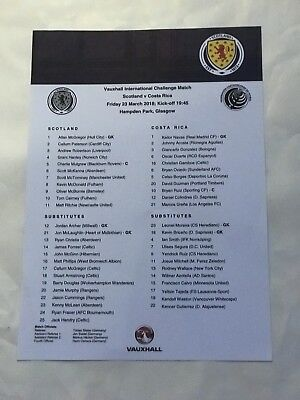 2018 Scotland v Costa Rica Friendly March 23rd MINT Teamsheet No Fold !