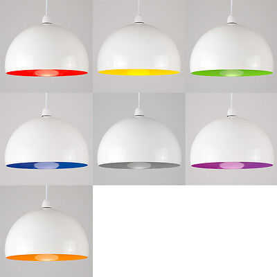 Large White Metal Domed Easy Fit Ceiling Pendant Light Shades Retro Lampshade