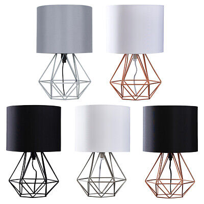 Modern Bedside Table Lamp 40cm Geometric Wire Cage Lights Copper Chrome Black