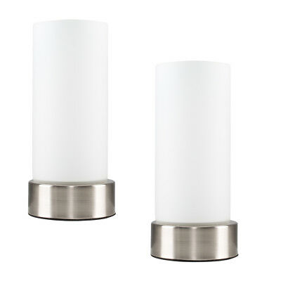 Pair of Modern Silver Chrome White Glass Touch Bedside Lounge Table Lights Lamps
