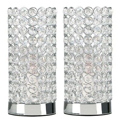 Pair of Stylish Touch Chrome Cylinder Bedside Table Lamps + LED Light Bulb