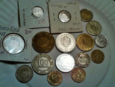 South America Lot Of 16 Coins See List Costa Rica, Columbia, Peru, .....