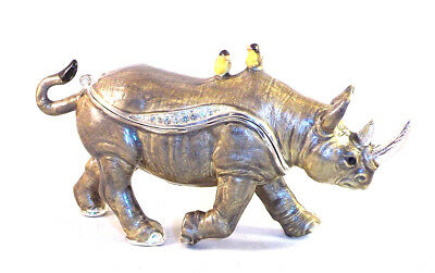 Kingspoint Brazen Rhinoceros Pewter Bejeweled Hinged Trinket / Jewelry  Box