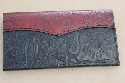 DARK RED over BLACK WESTERN LEATHER CHECKBOOK COVER FREE SHIPPING
