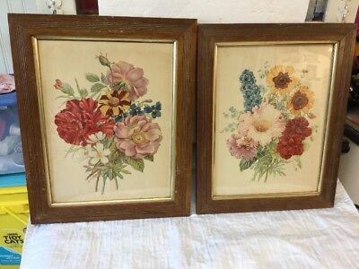 Pair Of Antique Wooden Picture Frames With Beautiful Flower Prints Very Colorful