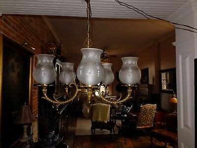 Antique French Art Nouveau Brass / Bronze 5-Lite Chandelier White Decor Shades