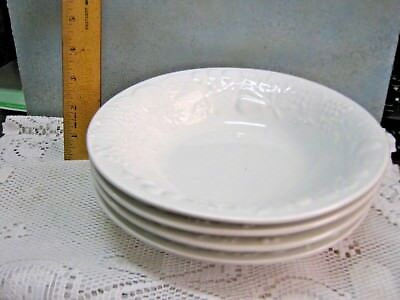 LOT of 4 GIBSON HOUSEWARES Vintage White Fruit Pattern CEREAL/SOUP Salad BOWLS
