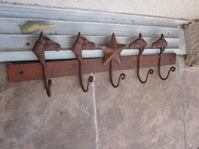 Cast Iron HORSE Towel Hanger Coat Hooks Hat Hook, Key Rack Western Tack hook