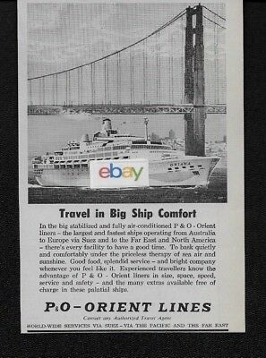 P & O Cruise Lines Rms Oriana Travel In Big Ship Comfort Golden Gate 1964 Ad