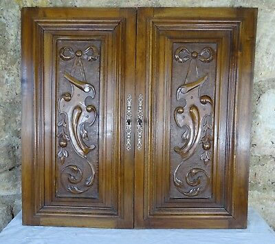 Pair Antique French Renaissance Solid Walnut Carved Wood Door Ribbon