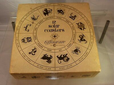 New 12 Solar Coasters Zodiac Signs Glass Tiffinware  By Continental Glass 1970s
