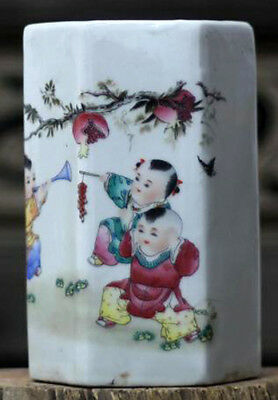 ZC Stunning Chinese porcelain brush pot painted Children playing firecracker