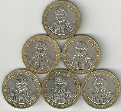 6 DIFFERENT BI-METAL 100 PESO COINS from CHILE w/ CONSECUTIVE DATES of 2008-2013
