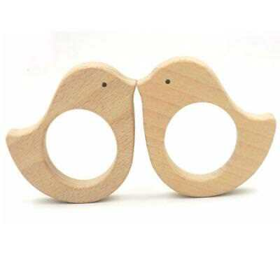 2Pcs Unique Bird Shape Wooden Baby Teether Toy Teething Necklace DIY Craft