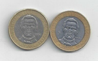 2 BI-METAL 5 PESO COINS from the DOMINICAN REPUBLIC DATING 2007 & 2008