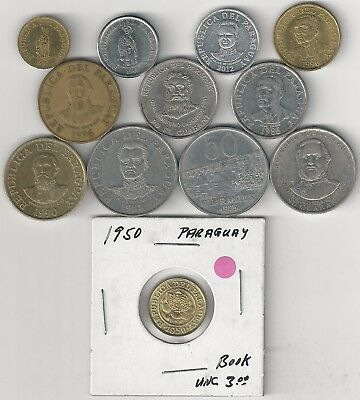 12 DIFFERENT COINS from PARAGUAY (12 TYPES/7 DENOMINATIONS/1950+)