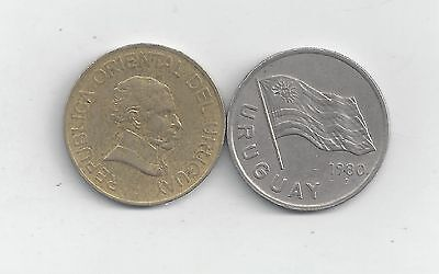 2 DIFFERENT 5 PESO COINS from URUGUAY - 1980 & 2005 (2 TYPES)