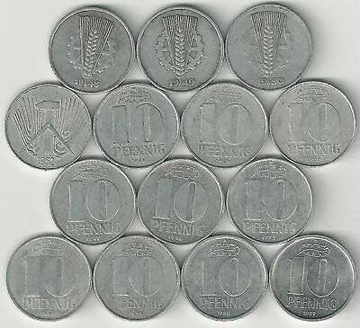 14 DIFFERENT 10 PFENNIG COINS from EAST GERMANY (3 TYPES/1948-1989)
