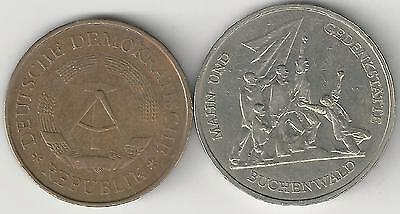 2 DIFFERENT COINS from EAST GERMANY - 1969 5 MARK & 1972A 10 MARK