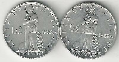 2 OLDER 2 LIRE COINS from the VATICAN DATING 1952 & 1953