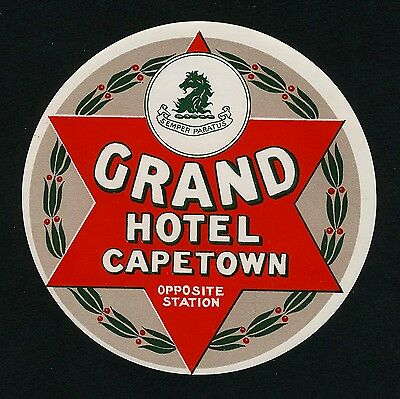 Grand Hotel CAPE TOWN Station / South Africa * Old Luggage Label Kofferaufkleber