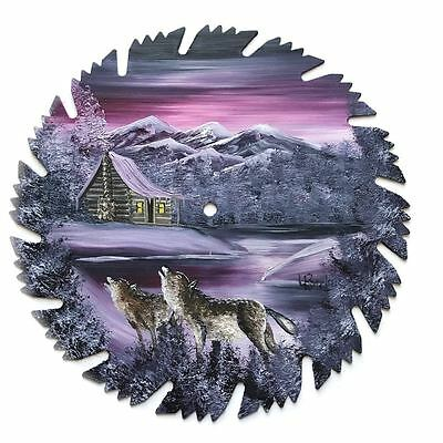 Hand Painted Saw Blade Art  Mauve  Winter Log Cabin w WOLVES