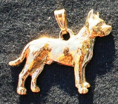Pit Bull Terrier 24K Gold Plated Pewter Pendant Jewelry USA Made