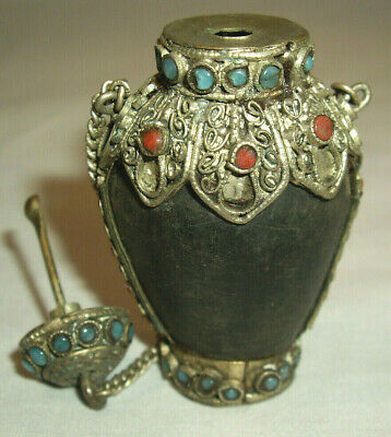 Vintage  Faux Jewled Snuff Bottle with Attached Chains