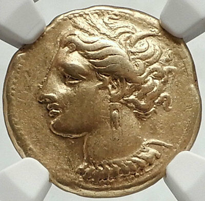 CARTHAGE Genuine Ancient 320BC Electrum Gold Silver Alloy Greek Coin NGC i68162