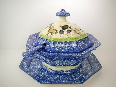 Cows Molly Dallas Spatterware Blue Covered Tureen Ladle Under-Plate Art Pottery