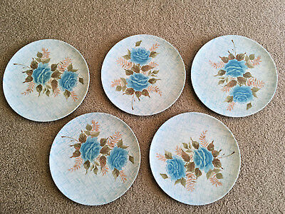 TEXAS WARE Melmac DINNER PLATES 10\  set of 5 BLUE ROSES flowers on the stem & AZTEC MELMAC dinner plates set of 6 pink roses - $34.00 | PicClick