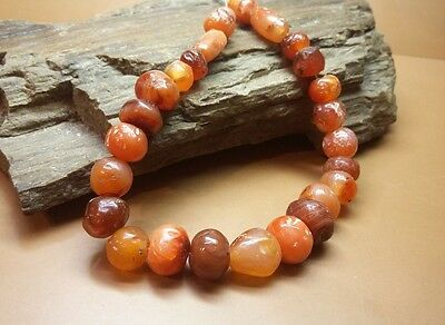 Fine set of 27pcs ANCIENT Natural CARNELIAN  STONE BEADs ROMAN ERA Wearable#2770