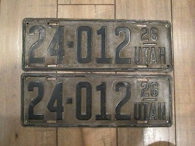 Original PAIR Utah 1926 license plates