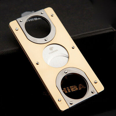 COOL COHIBA Pocket Gold Black Stainless Steel Double Blades Cigar Cutter Scissor
