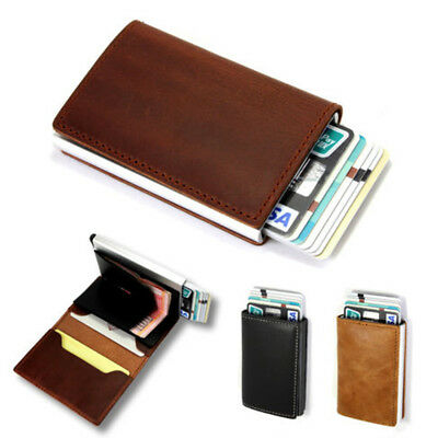 Genuine/Faux Leather Credit Card Holder RFID Blocking Pop-up Wallet Money Clip