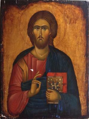 Greece Greek Orthodox Icon Hand Painted Wood Engraved Jesus Christ Not Very  Old