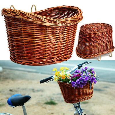 Trendy Style Brown Willow Wicker Bicycle Bike Front Basket With Straps New