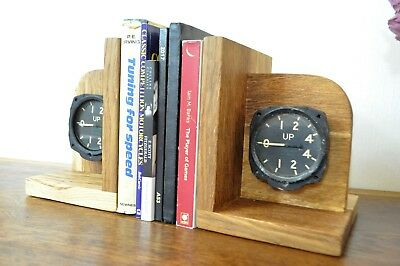 up Aviation Gauge Book End original decommissioned 1950's RAF Navy aircraft