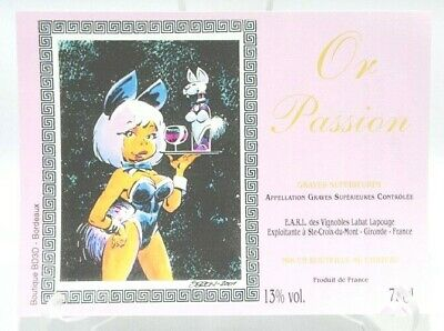 ETIQUETTE vin wine Or Passion pin up style Bunny Graves Labat Lapouge Gironde