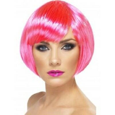 Ladies Fancy Dress Bob Wig Babe Neon Pink Hen Party New by Smiffys