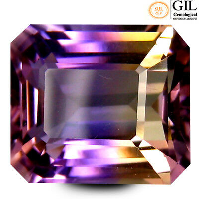 5.36 ct GIL Certified Octagon Cut (11 x 10 mm) Purple and Yellow Ametrine Stone