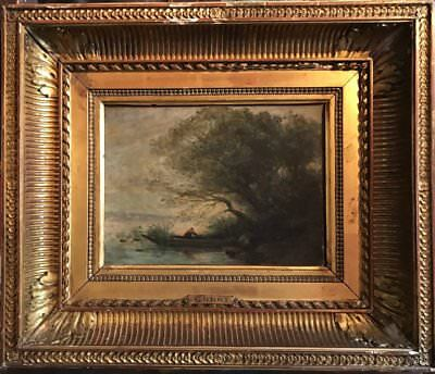 COROT - 19th CENTURY FRENCH BARBIZON OIL PAINTING c.1860's FIGURE IN WOODEN PUNT