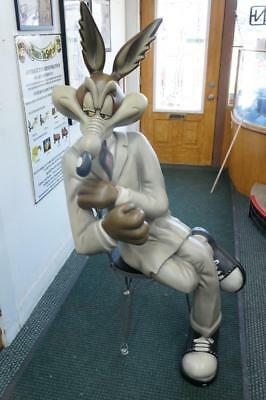 Warner Brothers Wile E Coyote In Chair Rare Statue Store Display Life Size Comic
