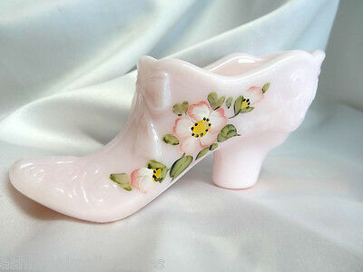 Mosser Glass Hand Painted Powder Puff Crown Tuscan Bow Slipper Shoe New