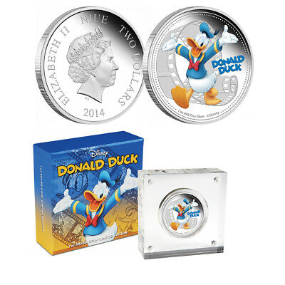 Niue 2014 $2 Disney Mickey & Friends - Donald Duck 1 Oz Silver Proof Coin
